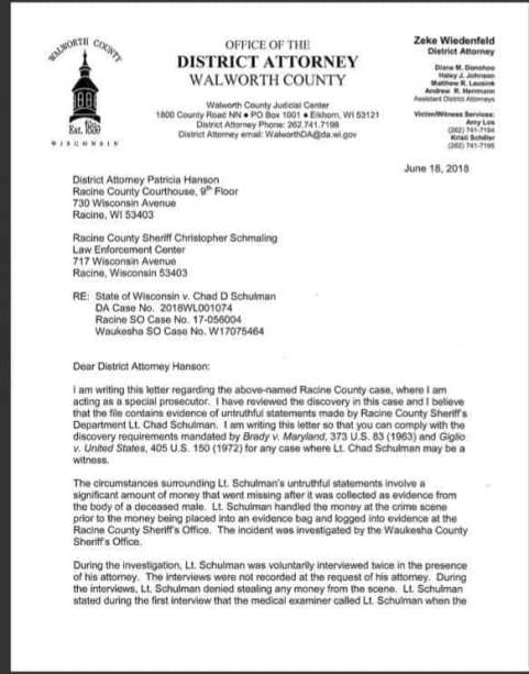 Hanson Walworth County Letter Page 1